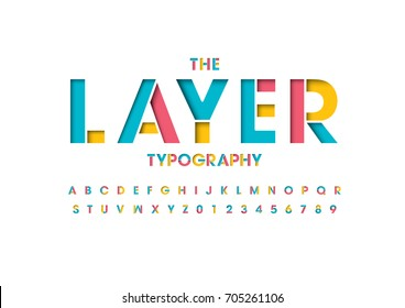 Vector of colorful layered font and alphabet