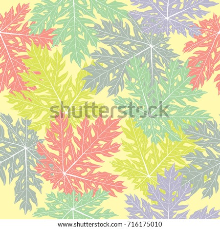Vector Colorful Leaves Papaya Repeat Seamless Pattern Great For Fabric Packaging Wallpaper
