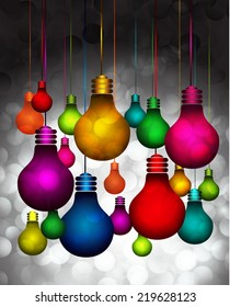 Vector colorful light bulb icons with concept of idea. Festive Christmas background. Elegant abstract background with bokeh defocused lights and stars, speech bubble