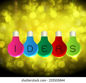 Vector colorful light bulb icons with concept of idea. Festive Christmas background. Elegant abstract background with bokeh defocused lights and stars