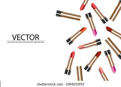 vector colorful lipstic on white background