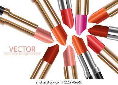 vector colorful lipstick on white background