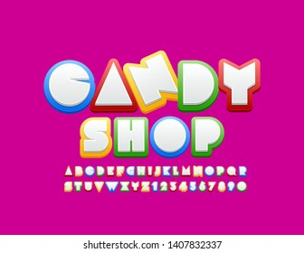Vector colorful logo Candy Shop with funny Alphabet. Bright Kids Font. Set of Letters, Numbers and Symbols