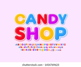 Vector colorful logo Candy Shop with glossy Alphabet Letters, Numbers and Symbols. Bright modern Font