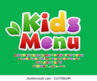 Vector Colorful Logo Kids Menu. Cute Bright Font. Playful Alphabet Letters, Numbers and Symbols.
