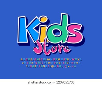 Vector Colorful logo Kids Store. Set of funny Alphabet Letters, Numbers and Symbols. Original bright Font.