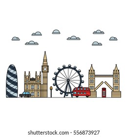 Vector colorful london icon set on white background