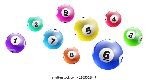 Vector colorful lottery / bingo ball number from 1 to 9 isolated on white background