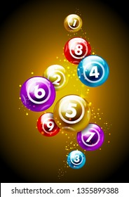 Vector colorful lottery / bingo ball number from 1 to 9 isolated on golden background