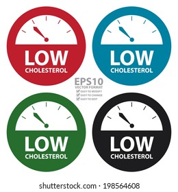 Vector : Colorful Low Cholesterol Bathroom Weight Scale Icon, Sign or Label Isolated on White Background