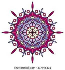 Vector colorful mandala in pink and violet colors.