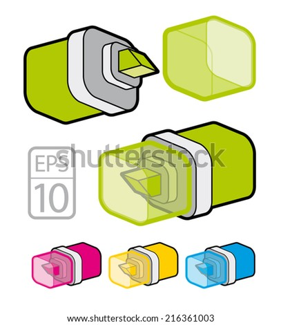 Vector Colorful Marker Pen Highlighters Caps Stock Vector