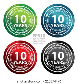 Vector : Colorful Metallic Style 10 Years Warranty Icon, Badge, Label or Sticker for Product Warranty, Quality Control, Quality Assurance, Quality Management, CRM or Customer Satisfaction Concept
