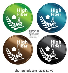 Vector : Colorful Metallic Style High Fiber Icon, Badge, Label or Sticker for Healthy, Medical and Healthcare, Weight Loss, Diet, Fitness Product or Product Information Concept Isolated on White