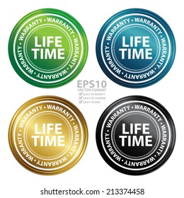 Vector : Colorful Metallic Style Lifetime Warranty Icon, Badge, Label or Sticker for Product Warranty, Quality Control, Quality Assurance, Quality Management, CRM or Customer Satisfaction Concept