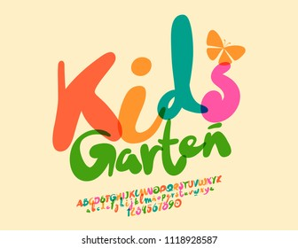 Vector colorful modern poster Kids Garten. Handwritten Font with Graphic Style. Alphabet Letters, Numbers and Symbols for Children