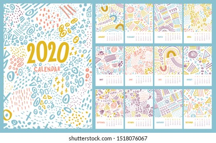 Vector colorful monthly calendar for 2020 year with abstract marker doodle. Editable template A5, A4, A3 size, can be printed and used as a desk, table or wall calender for your schedule and plans.
