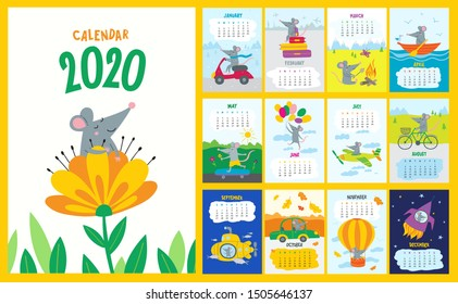 Vector colorful monthly calendar with a cute rat - a symbol of the 2020 year  Chinese calendar. Editable template A5, A4, A3 size, can be printed and used as a desk, table or wall calender