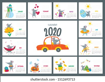 Vector colorful monthly calendar with a cute rat - a symbol of the 2020 year according to Chinese calendar. Editable template A5, A4, A3 size, can be printed and used as a desk, table or wall calender