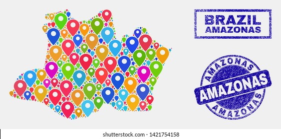 Vector colorful mosaic Amazonas State map and grunge stamp seals. Abstract Amazonas State map is designed from scattered colorful geo icons. Stamp seals are blue, with rectangle and rounded shapes.