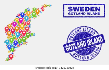 Vector colorful mosaic Gotland Island map and grunge stamps. Flat Gotland Island map is composed from randomized colorful site markers. Stamps are blue, with rectangle and round shapes.