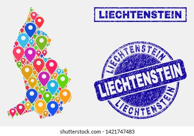 Vector colorful mosaic Liechtenstein map and grunge seals. Abstract Liechtenstein map is composed from randomized colorful navigation locations. Stamp seals are blue,