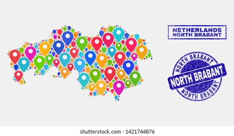 Vector colorful mosaic North Brabant Province map and grunge seals. Flat North Brabant Province map is created from random colorful map symbols. Seals are blue, with rectangle and rounded shapes.