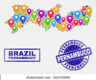 Vector colorful mosaic Pernambuco State map and grunge seals. Abstract Pernambuco State map is composed from randomized colorful site markers. Seals are blue, with rectangle and round shapes.