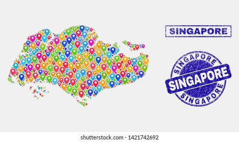 Vector colorful mosaic Singapore map and grunge seals. Abstract Singapore map is designed from random bright geo positions. Stamp seals are blue, with rectangle and round shapes.