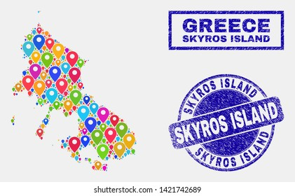Vector colorful mosaic Skyros Island map and grunge stamp seals. Abstract Skyros Island map is formed from random colorful site pins. Stamp seals are blue, with rectangle and round shapes.