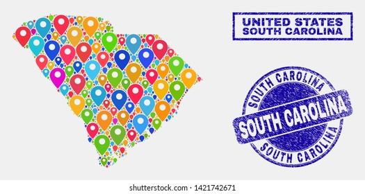 Vector colorful mosaic South Carolina State map and grunge watermarks. Abstract South Carolina State map is created from randomized colorful geo pointers. Stamps are blue,