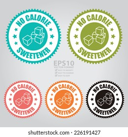 Vector : Colorful No Calorie Sweetener Icon, Sticker, Badge or Label