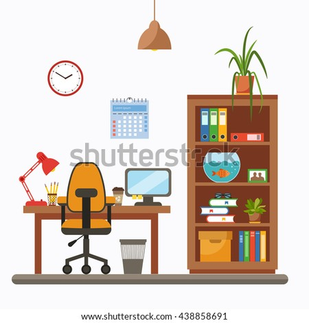Vector Colorful Office Desk With Indoor Plants. Work Interior Design  Elements: Laptop, Indoor