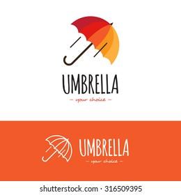 Vector colorful orange and red umbrella logo. Umbrella logotype with line version