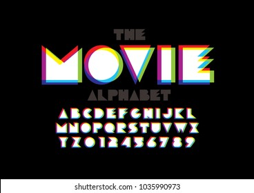 Vector of colorful overlay font and alphabet