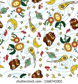 Vector colorful owl comet and moon repeat pattern with white background. Suitable for gift wrap, textile and wallpaper. Surface pattern design.