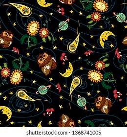 Vector colorful owl comet and moon repeat pattern with black background. Suitable for gift wrap, textile and wallpaper. Surface pattern design.