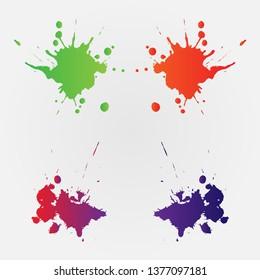 Vector Colorful paint splatter. Paint splash set.