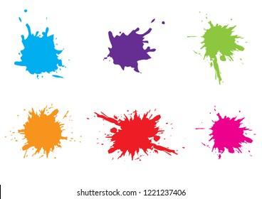 Vector Colorful paint splatter.Paint splash set.Vector illustration design.