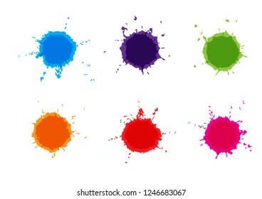 Vector Colorful paint splatters.Paint splashes set.Vector illustration.