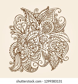 Vector colorful paisley texture with abstract flowers