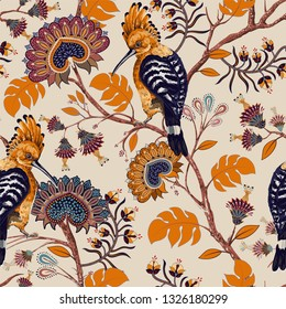 Vector colorful pattern with birds and flowers. Hoopoes and flowers, retro style, floral backdrop. Jacobean flower design for web, wrapping paper, cover, textile, fabric, wallpaper