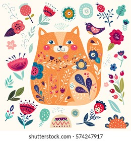 Vector colorful pattern with cat and flowers