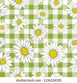 Vector colorful pattern of different size camomile flower with green and white checker background