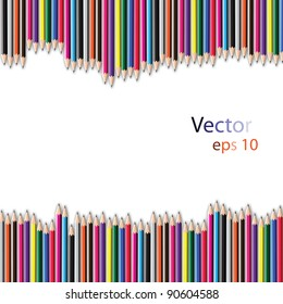 Vector of colorful pencil on white color background.