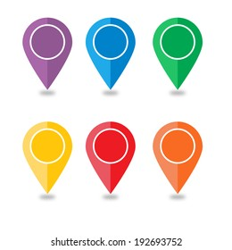 Vector: Colorful Pin Pointers or for Map, Red orange yellow green blue purple pins ready to use