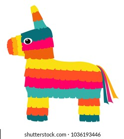 Vector colorful pinata isolated on white background.