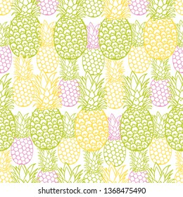 Vector colorful pineapple texture repeat pattern. Suitable for gift wrap, textile and wallpaper. Surface pattern design.