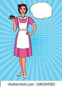 Vector colorful pop art comic style illustration of a pretty woman in apron with plate of cake. Vintage poster of a happy housewife