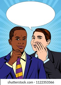 Vector colorful pop art comic style illustration of one businessman telling a secret information to his colleague. Portrait of two young handsome guys in suit who having a dialog